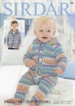 Sirdar Snuggly Baby Crofter Chunky - 4780 Hooded Onesie & Hooded Jacket Knitting Pattern